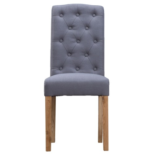 Casa Button Back Upholstered Chair x 2, Grey