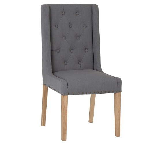 Casa Winged Button Studded Chair x 2, Grey