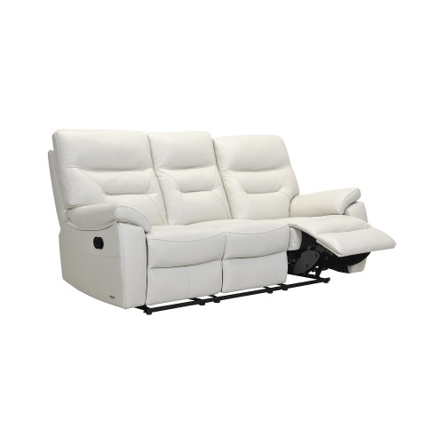 Casa Indianna 3 Seater Manual Recliner Leather Sofa, Stone