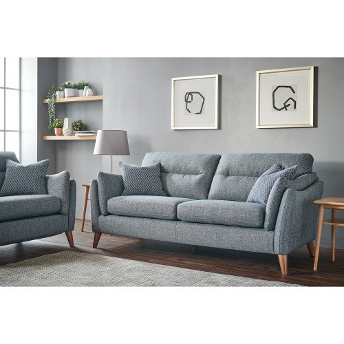 Casa Marley 3 Str Dbl Pwr Sofa 3 Seat, Alturmura Blue/grey, Dark Foot