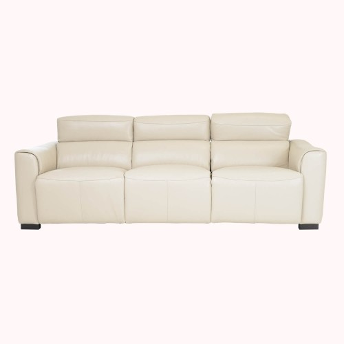 Casa Charlie 3 Seater Power Recliner Leather Sofa, Beige