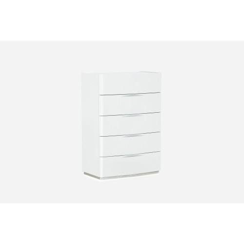 Casa Ellie Tall 5 Drawer Chest With Marble Glass Top