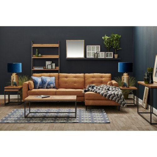 Casa Rupert 2.5 Seater Leather Chaise Sofa, Brown/Saddle Bag