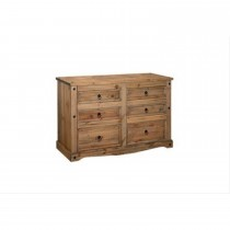 Corona 3+3 Drawer Wide Chest, Waxed Pine