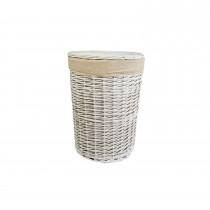 Casa Willow Round Basket Medium, White