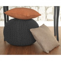 Casa Knitted Pouffe, Charcoal