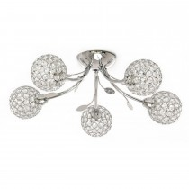 Casa Mirren Flush Ceiling Light, 5 Light, Chrome