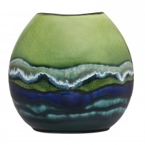 Poole Pottery Maya Purse Vase 20cm, Green/Blue