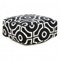 Casa Cut Circle Pouf, Black/white