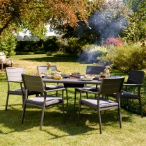 Jamie Oliver Caraway Grilling 6 Seater Set, Earl Grey/Poppy Seed