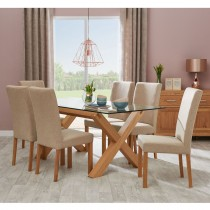 Casa Toledo Glass Table & 6 Upholstered Chairs Dining Set