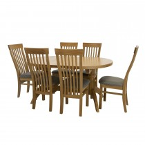 Casa Marseille Oval Extending Table & 6 Dining Chair Set