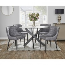 Casa Cairns Round Table & 4 Chairs Dining Set