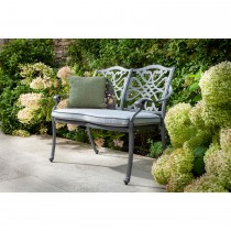 Hartman Capri Garden Bench & Cushion, Grey/Platinum