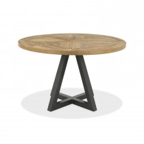 Casa Finsbury Circular Dining Table, Rustic Oak & Peppercorn