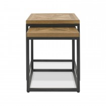 Casa Finsbury  Nest Of Tables, Rustic Oak & Peppercorn