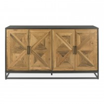 Casa Finsbury Wide Sideboard, Rustic Oak & Peppercorn