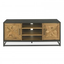 Casa Finsbury Media Unit, Rustic Oak & Peppercorn