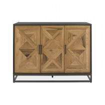 Casa Finsbury Narrow Sideboard, Rustic Oak & Peppercorn
