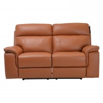 Harry Two Seater Power Recliner Leather Sofa, Brown