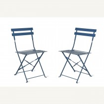 Garden Trading Pair Of Bistro Chairs, Lulworth Blue
