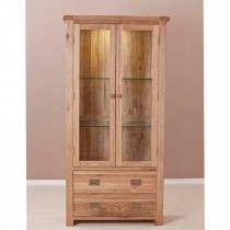 Seville Glass Display Cabinet, Oak