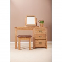 Seville Single Three Drawer Dressing Table, Oak