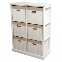 Bamboo Unit 6 Drawer, White