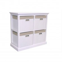 4 Drawer Wide Bamboo Unit, White