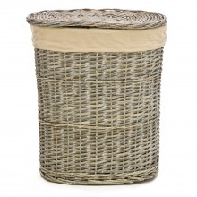 Oval Willow Small Laundry Basket, Grey