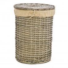 Round Willow Medium Laundry Basket, Grey