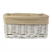 Willow Rectangular Storage Basket, White