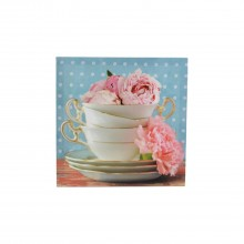 Vintage Blue Teacups Canvas Blue