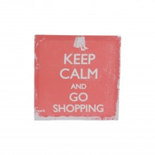 Keep Calm & Go Shopping Canvas White 28cmx28cm
