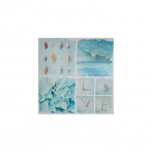 Seaside Snapshots Canvas Blue Square