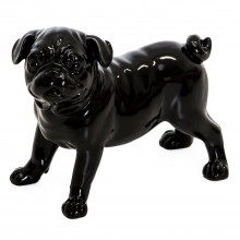 Standing Dog Sculpture, Gloss Black