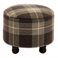 Storage Stool Brown Check Small