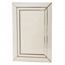 Stepped Mirror Silver Rectangle