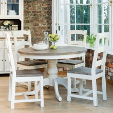 Cotswold Circular Table & Four Wooden Chairs Dining Set