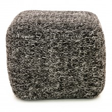 Two Tone Tinke Pouffe, Charcoal