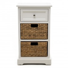 1 Drawer/2 Basket Unit, White/natural