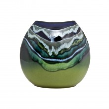 Poole Pottery Maya Purse Vase 26cm, Green/Blue