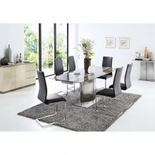 Wave Dining Table and Six Chairs Dining Set