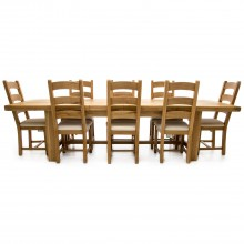 Fairford Extending Table & Eight Chairs Dining Set, Oak