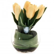 Tulip Arrangement In Glass, Yellow/green