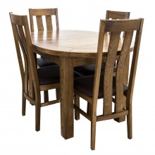 Bordeaux Small D-End Table & Four Chairs Dining Set