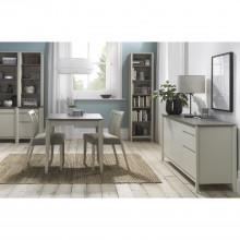Casa Geneva 2-4 Ext Table & 2 Grey/ Oak Dining Set