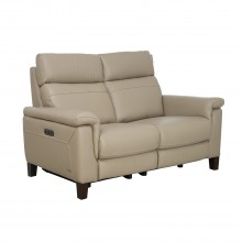 Hugo Two Seater Power Recliner Leather Sofa, Nougat