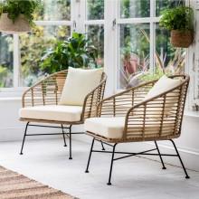 Garden Trading Set of 2 Hampstead Armchairs, Bamboo