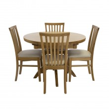 Marseille Round Extending Table & 4 chairs Dining Set